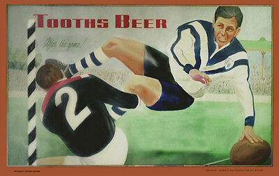 Tooth's Beer Dogs v Roosters photoposter 325x505mm rugby league bar beer