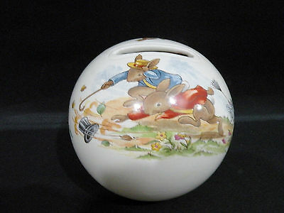 Royal Doulton Bunnykins ceramic Money Box - wind blown hat vgc