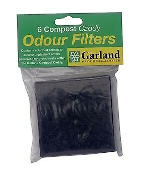 Garland Pack of 6 Replacement Odour Filters for Compost Bin Caddy 9cmx9cm Each
