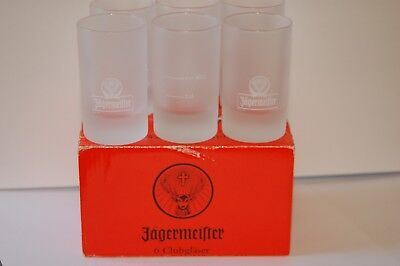 Set of 6 NEW in Box JAGERMEISTER Frosted 1 oz  Clubglaser  SHOT Glasses TubB