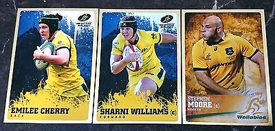 3 x 2016 Rugby Trading Cards Tap N Play Wallabies Gold Inserts