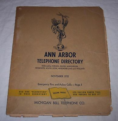 1951 Ann Arbor Michigan telephone directory phone book white and yellow pages