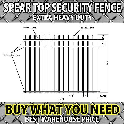 Spear Top Security Fence Panels 2400 x1800 Aluminium Fencing School Building DIY