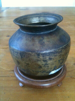 "Vintage Round Based Bronze Pot 3 1/2"" Tall + Stand"