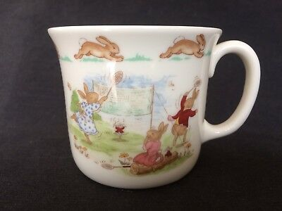 Vintage Bunnykins Don Mug Depicts Badminton Game & Smelling The Flowers