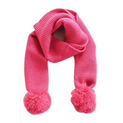 Baby Kids Winter Solid Color Double Ball Warm Knitting Wool Scarf Hot
