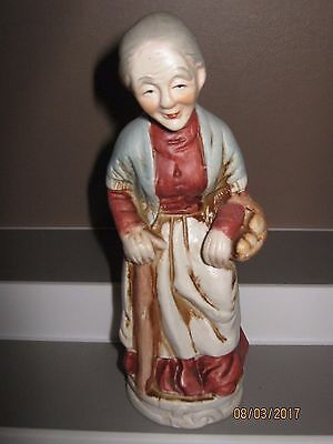 Ceramic figurine no6 old woman standing with stick /basket 140 to 180 mm ex/cond