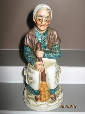 Ceramic figurine no7 old woman sitting with broom 140 to 180 mm ex/cond