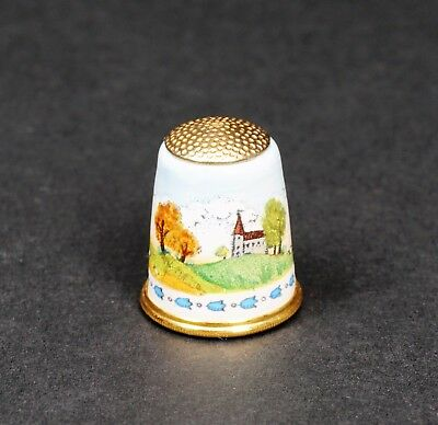 Halcyon Days Bilston & Battersea Enamel Countryside Thimble W/ Box