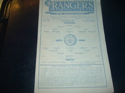 Rangers v Celtic Aug 1956 League Cup