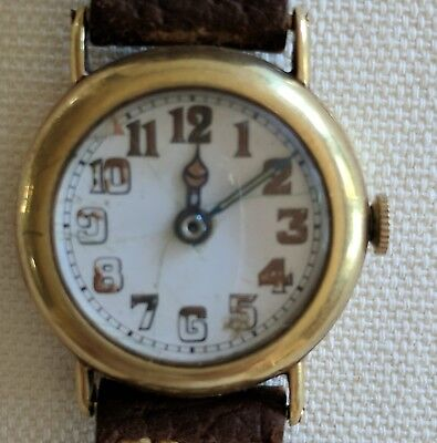 Rare! 14K Solid Gold Longines 11.62 Trench Ww 1 Military Watch Men Enamel Dial