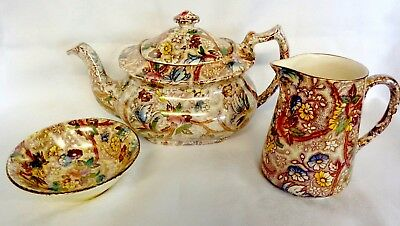 Maling Chestnut Chintz Lustre Ware  Tea Pot-- Bowl & Jug  (Some Damage)