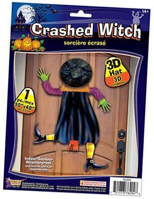 crashed witch decoration with 3-d hat