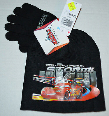 Boys CARS Taking the Race by STORM KNIT 2 PC SET Beanie Winter Hat & Gloves OSFM