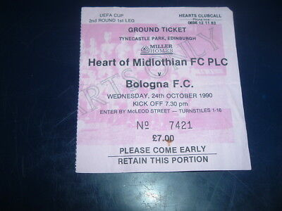 Ticket Hearts v Bologna Oct 1990 UEFA Cup