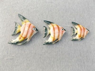 Set of 3 Vintage pottery Angel fish wall hangers