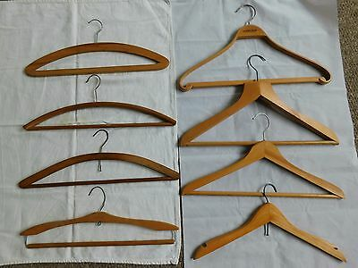8 x Vintage Wooden Wood Coat Hangers Clothes Hangers