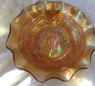 Beautiful Vintage Crown Crystal Kingfisher Marigold Carnival Glass Bowl