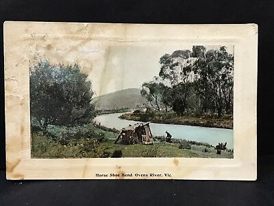 Antique Postcard HORSESHOE BEND, OVENS RIVER Merbein VIC Real Photo by Graphic