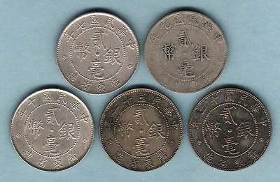 China - Kwangtung. 20 Cents : Yrs-7,9,10,11 & 12 (1918-23).. Silver  aF-gEF
