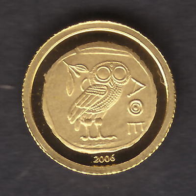 Congo. 2006 Gold 10 Francs..  Athenian Owl..  0.5grams  .999 gold.. Proof