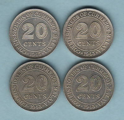 Malaya. 1945 20 Cents x 4 Coins.. All with Lustre..  EF - aUNC