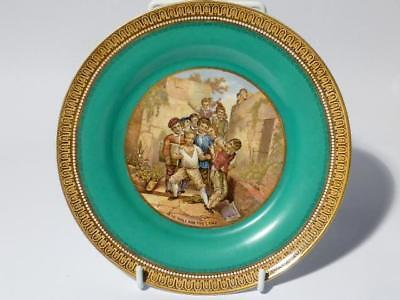 Antique Victorian The Wolf and the Lamb (343) Green Prattware Side Plate