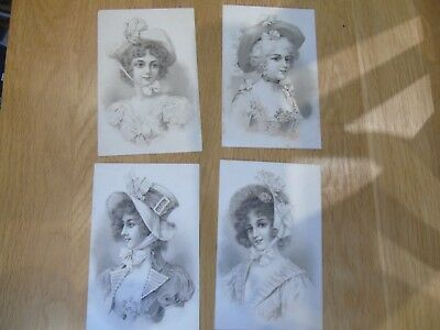 4 Old Postcards Showing Young Women in Hats