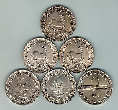 South Africa - Silver Crowns. 1947, 1949x2, 1952x2 & 1960.. gEF-UNC