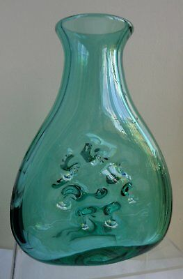 WHITEFRIARS GLASS AQUA FULL LEAD CRYSTAL OVAL DIMPLED VASE #9864, c1979