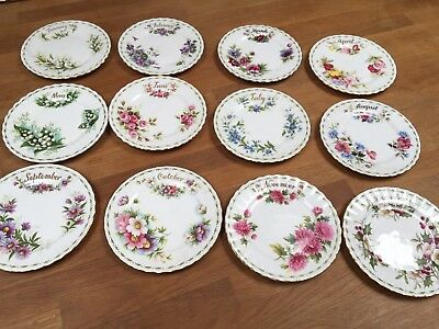 Royal Albert Flowers Of The Month Series full set of side plates