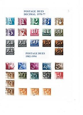 Great Britain 1970 - 1994 Postage Dues used