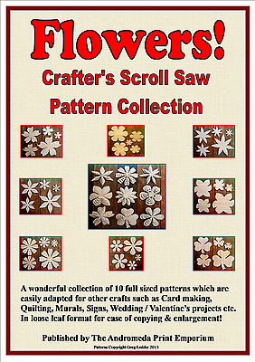 Flowers -10 Full Size Scroll Saw / Craft Patterns + FREE MDF Drawing Template!