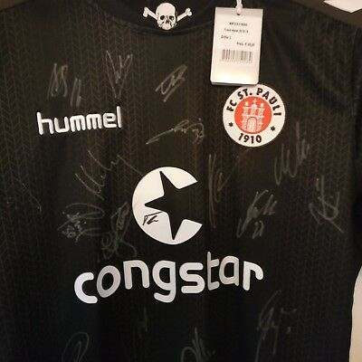 FC St Pauli Offical Team Signed Shirt/Top With 100% sponsor Proof