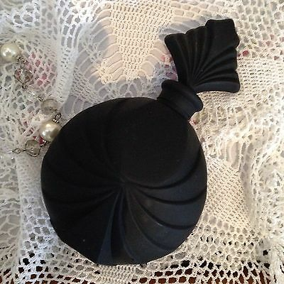 Black Satin Glass Art Deco Perfume Bottle With Stopper