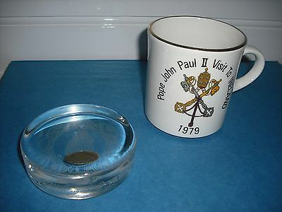 2 Items Pope John Paul11 Wedgwood Glass Paperweight and a 1979 Ireland Mug