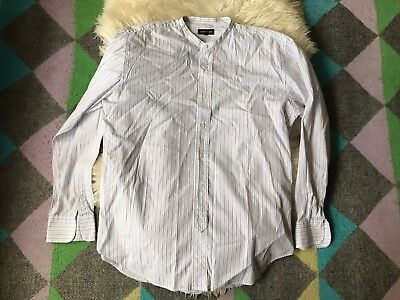 Men's Vintage Hope And Glory 1990s Grandad Collar Shirt 40s Style Size L Casual
