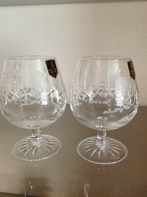 Edinburgh Crystal Brandy/whisky Glasses With Rabbie Burns Picture And Verse.