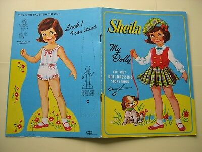 Vintage Cut Out Paper Doll Dressing Story Book - Sheila - c1950s  Good