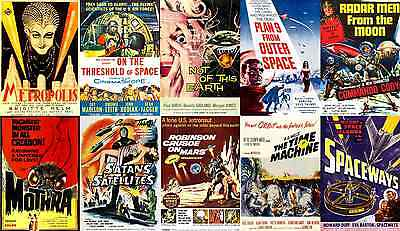 Print & Sell 200 Thrilling 'Print Ready' Vintage Sci-Fi Movie Posters - FREE P&P