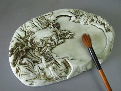 Wonderful Chinese White Porcelain Carved Scenery Pattern Ink Slab / inkStone
