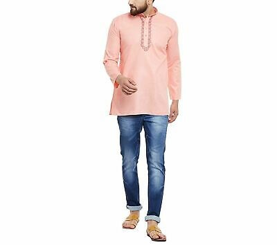 Traditional Men's Wear Peach Short Kurta Cotton Blend