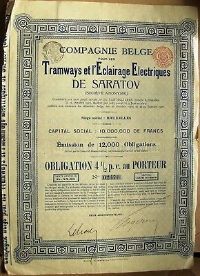 Russian 300 Francs Bond The Electrical Tramways of Saratov. Bruxelles 1905
