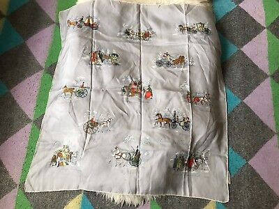 Vintage Silk Scarf Foulard Carriages Through The Ages Made Switzerland 30s 40s