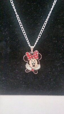 Girls 16 Inch Smiley Minnie Mouse Necklace In Pink Organza Gift Bag
