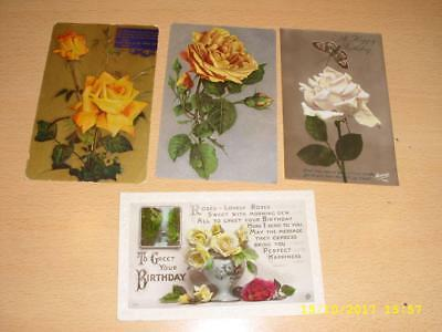Flowers - Beautiful Yellow Roses - Vintage Greeting Postcards