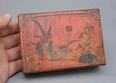 Chinese Wood Lacquerware Rooster Chicken Flower Case Jewelry Box
