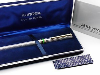 """Vintage """"Aurora"""" Fountain Pen-Sterling Silver Guilloche-Box & Papers-Italy"""