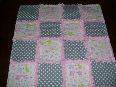 Baby Rag Quilt~Pinks And Grays~Baby Girl~Handmade