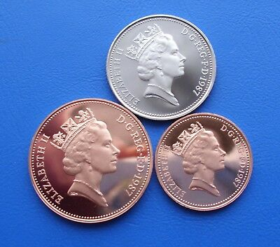 1987 Proof 5P 2P And 1P Coins Uncirculated